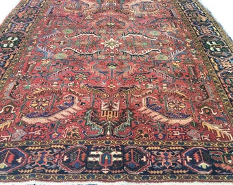 Antique Persian Rug Heriz Rug Serapi Persian Pink Hue Bohemian Decor Area  Rug 9 X 11