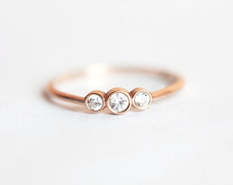 Genuine Diamond Ring, Three Stone Round Brilliant Cut Diamond Engagement Ring, Three Stone Ring, Three Diamond Ring, Bezel Engagement Ring