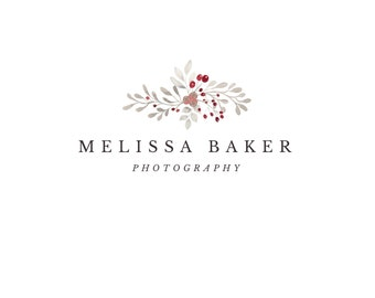 Premade Watercolor Grey & Red floral  Logo - Photography logo - Instant Download - Photoshop Template - PSD file - photography watermark