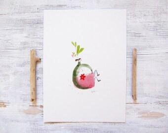 whimsical girl, whimsical art, watercolour girl illustration, scandinavian decor, scandinavian room decor, modern minimalist, ORIGINAL art