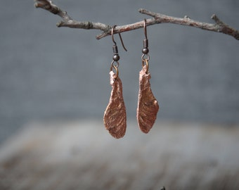 nature maple seed earrings botanical jewelry electroformed copper jewelry birthday gifts boho earrings