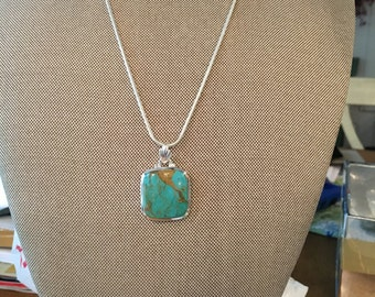 Blue Mohave Turquoise Gemstone Pendant in Sterling Silver Design RESERVED FOR D