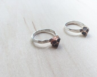 Sterling Silver and Bronze Nugget Ring || Facet Ring || Stacking Ring