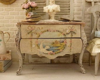 Marie-Antoinette chest of drawers, Distressed Shabby gray Gustavian, Medallion garlands of roses, French dollhouse furniture, 1:12th scale
