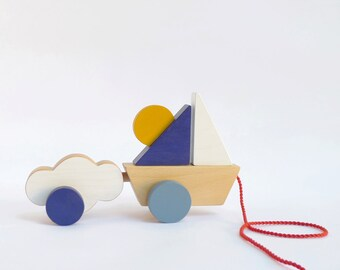 Pull toy boat for toddlers, Wooden boat toy and cloud