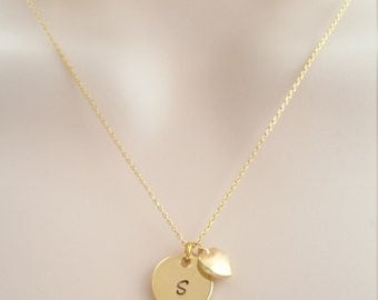 Gold Initial Necklace, Everyday Wear, Personalized Jewelry, Tiny Heart Charm
