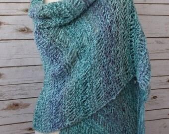 Aqua Blue and Purple Knit Shawl, Elegant Waterfall Shawl, Hand Knit Lace Wrap,Blue Green Shawl, Blue Knit Long Fringed Shawl, Ready to Ship