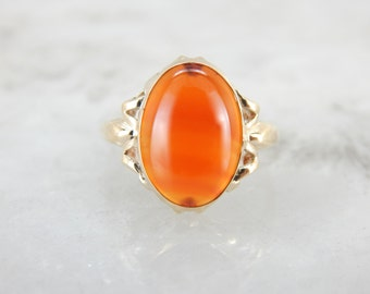 1950's Bold Orange Carnelian Ring in Vintage Mounting 52EH76-D