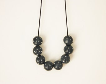 Black anthracite beaded necklace, textured minimalistic contemporary modern art jewelry