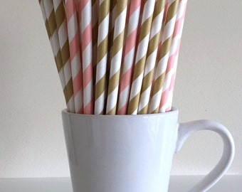 Blush Pink and Gold Paper Straws Pink and Gold Striped Party Supplies Party Decor Bar Cart Cake Pop Sticks Graduation