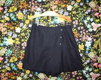 Vintage 90s Skort * Dark Blue / Grey * Fully Lined * Minimal * XS Small