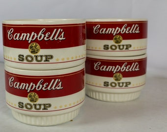 Campbell's soup bowls, Campbell's, bowls, Soup, soup bowls, set of bowls, Campbell's soup, red and white, M'm! M'm! Good, stacking