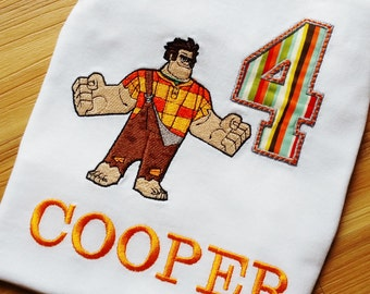 Wreck-It Ralph Birthday Number Shirt Disney Wreck it Shirt /Onesy Embroidery (Personalized) Super Hero, Fix-it Felix Junior JR Bad Guy