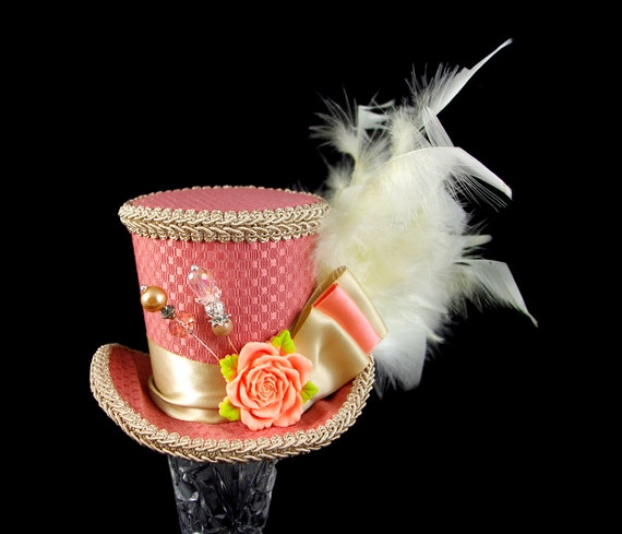 Peachy Pink and Toffee Rose Medium Mini Top Hat Fascinator, Alice in Wonderland, Mad Hatter Tea Party, Derby Hat