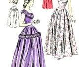 "VINTAGE JUNIOR VOGUE Special Occasion Dress Sewing Pattern - Uncut, Unmarked  -  40's Vogue 3156, Size 17, Bust 34.5"" - Deep Round Neckline"