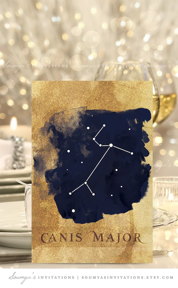Gold And Navy Blue Wedding Table Numbers Constellation