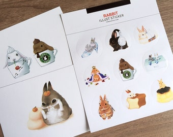 2 sheets rabbit sticker rabbit illust lovely bunny cartoon sticker rabbit round sticker super cute rabbit fat rabbit cartoon diary icon