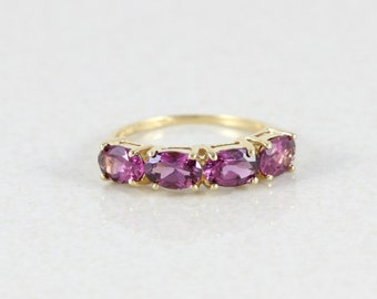 14k Yellow Gold Ring Rhodolite Garnet Band Ring Size 5