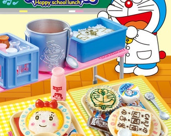 2015 / Full Set Of 8 / Re-ment / Doraemon / Happy School Lunch / Dollhouse Miniatures Collectibles / Candy Toy / Foods