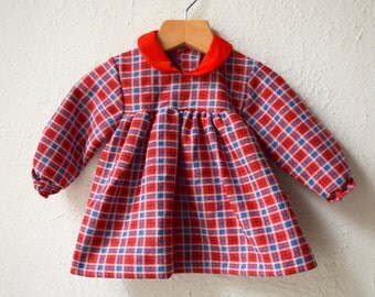 Send in the Clowns - 1980's Checked Baby Dress - Age 6 to 9 months