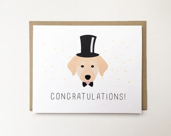 Dog Wedding Card, Cute Congratulations Card, Dog Lover Engagement Card, Cute Wedding Card, Puppy Wedding Card, Dog Engagement Card, Congrats