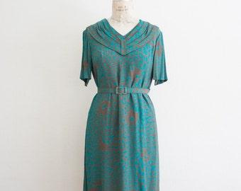 vintage 1980s turquoise leopard print dress