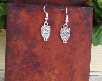 Owl Earrings Small Silver Owls Petite