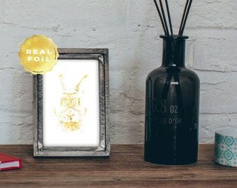 Bunny Art Print 4x6 - 5x7 - Gold Bunny - Gold Leaf Bunny - Rustic Chic Decor - Girly Art Print - Wall Art - Gold Rabbit