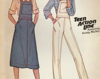 McCall's 6466 Sewing Pattern, Young Junior/Teen Side Buttoned Overalls and Jumper with Buckled Shoulder Straps, Size 13/14, Uncut Vintage
