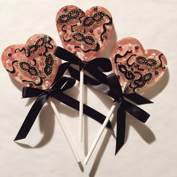 3 Valentines Masquerade Cherry Rose Lollipops
