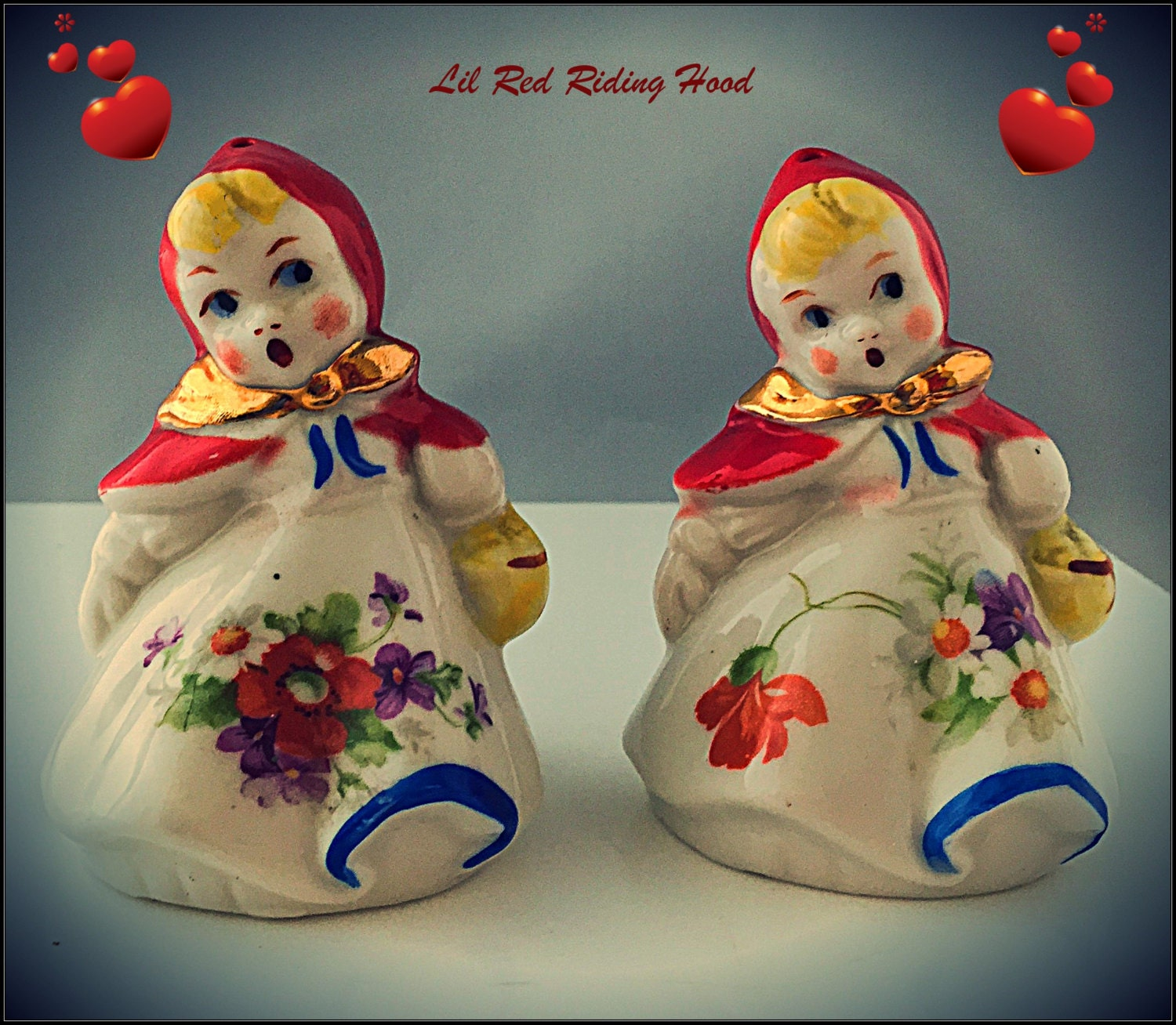 Vintage Ceramic Little Red Riding Hood Salt And Pepper Shakers