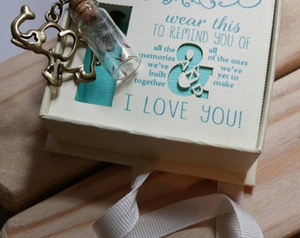 Good luck necklace with memory elephant and dandelion in a bottle