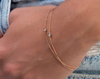 Diamond bracelet Delicate daimond bracelet Gold chain bracelet Solid gold bracelet Tiny diamond bracelet