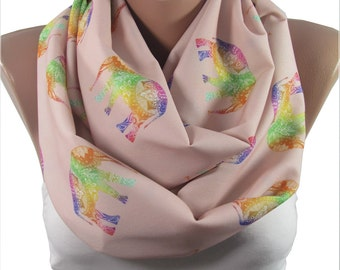 Elephant Scarf Animal Infinity Scarf Bohemian Elephant Print Scarf Boho Scarf Mothers Day Christmas Gift For Her Gift for Mom Sister Aunt