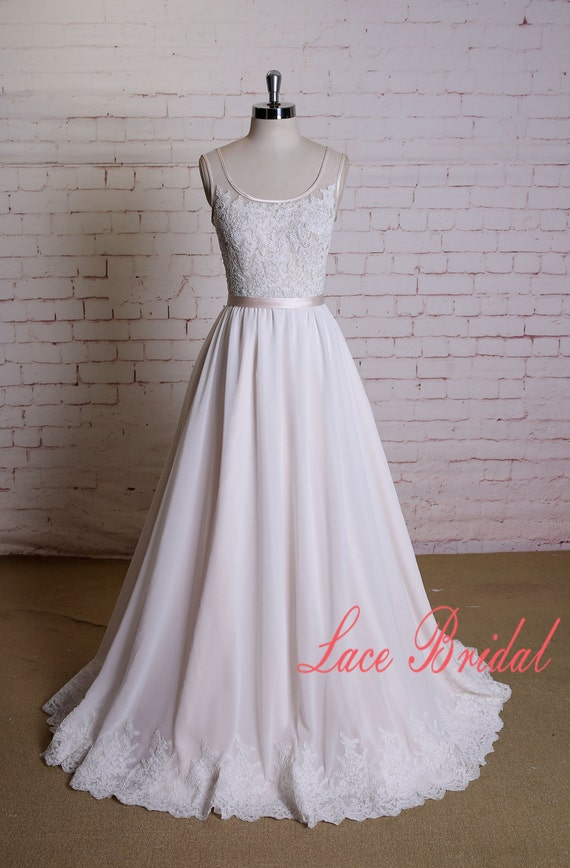 Full chiffon skirt wedding dress with lace edging square for Full skirt wedding dress