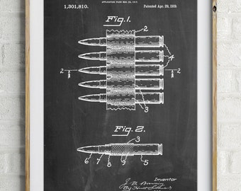 Machine Gun Bullet Carrier Belt Patent Poster, Gun Enthusiast, Bullet Art, Antique Gun, PP0948