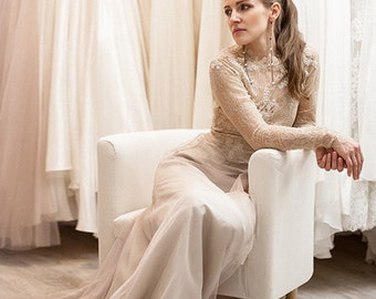 Eleftheria / long sleeve wedding dress bohemian wedding dress low back wedding dress with sleeves plus size wedding dress rustic wedding