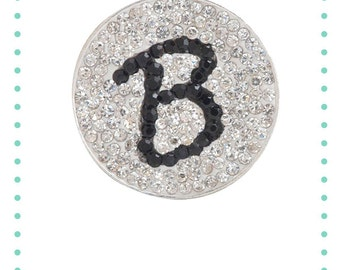 """Initial """"B"""" Micro Pave Crystal Charm Ball Marker"""