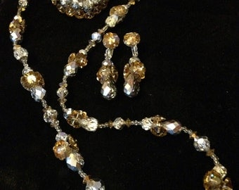 Gorgeous Vendome Crystal Necklace, Brooch and Earring Set