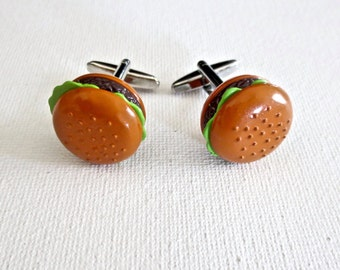 Hamburger Cufflinks Cuff Links Party Wedding Groom Groomsmen Gift