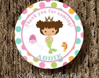 Mermaid thank you tag - mermaid birthday -  pink mermaid sticker - mermaid cupcake topper - mermaid label - mermaid printable