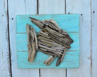 rustic beach sign - driftwood fish  -