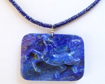 Finely CARVED LAPIS HORSE Pendant