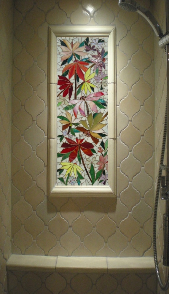 3ft decorative mosaic panel indoor outdoor by paradisemosaics for Outdoor glass wall panels