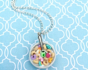 Lucky Cereal, Charm Necklace Polymer Clay, Miniature Food Jewelry, Food Jewelry, Cereal Necklace, Miniature Food
