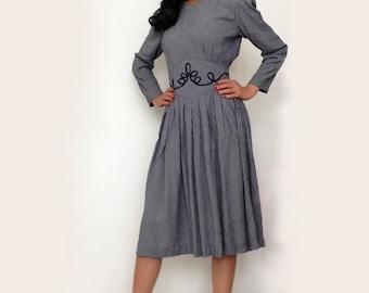 Vintage sailor woman dress. Vintage navy blue secretary dress. Vintage summer dress. Size S