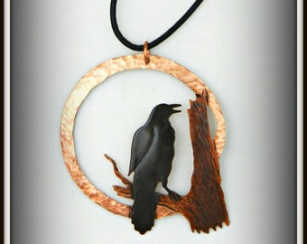 crow pendant, crow necklace, Goth crow jewelry, raven jewelry, crow art, animal spirit guide, rook jewelry, corvus, blackbird, Canadian art