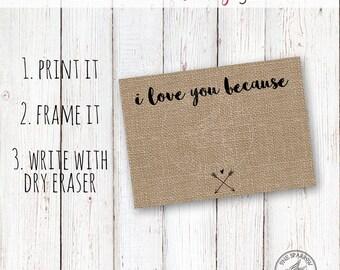 DIY Printable Anniversary/ Valentines Day Gift, burlap