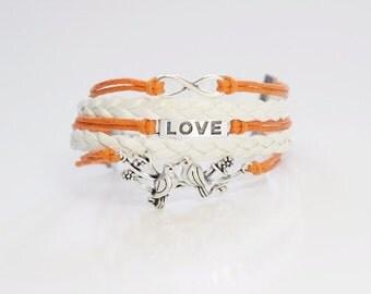 Infinity Love Birds Orange White Cord Bracelet