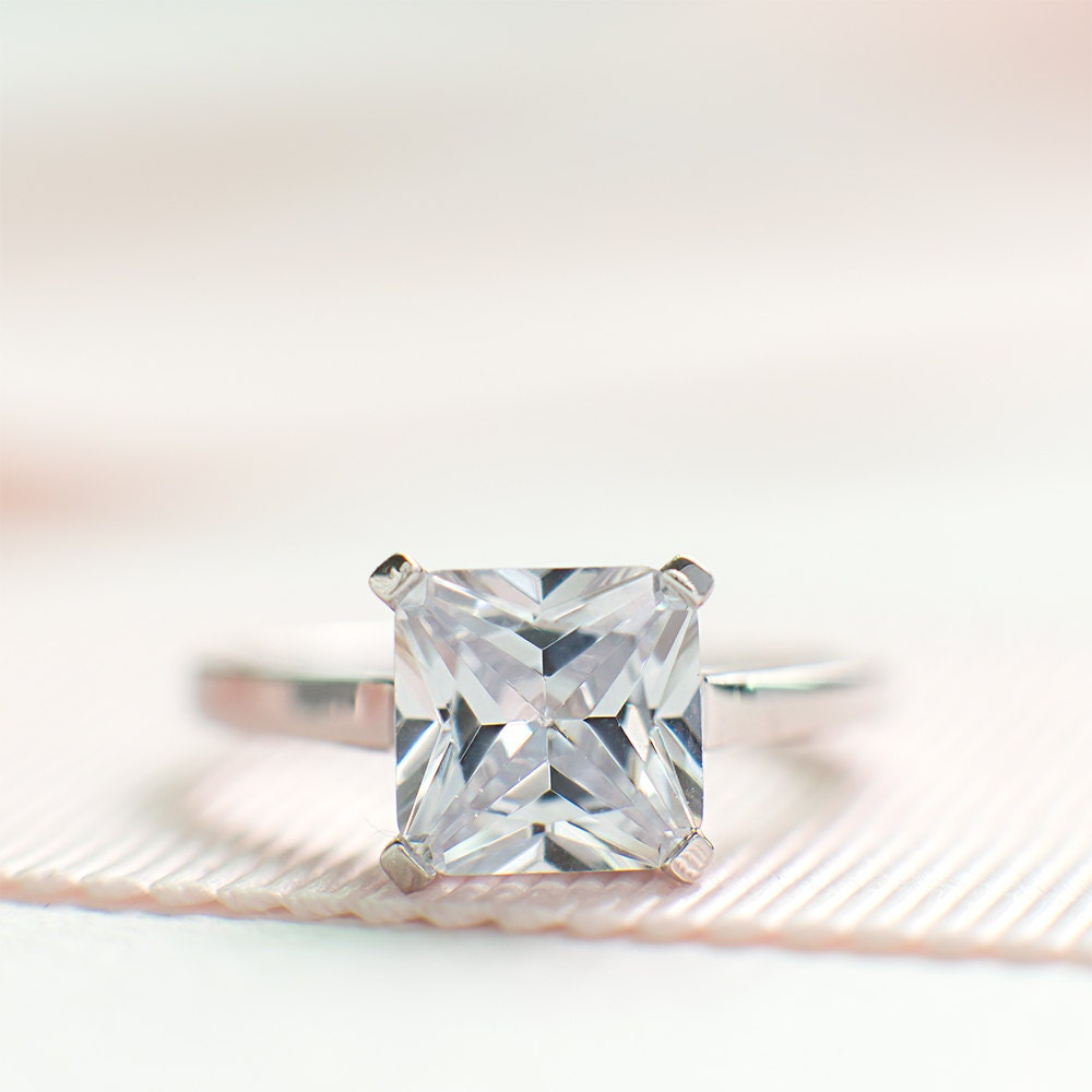 Square Cut Engagement Ring Simple Radiant Cut Ring CZ